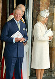 Prince Charles and Camilla, Duchess of Cornwall, stood outside the chapel.