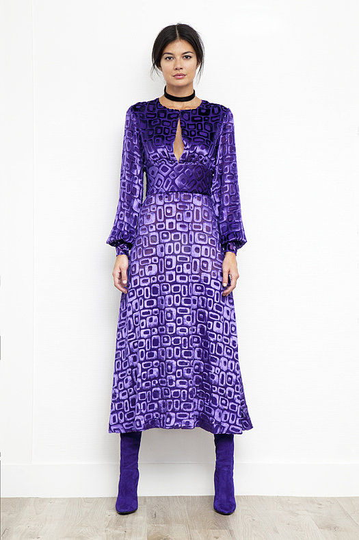 Geometric Devore Velvet Dress in Peacock Purple ($995), Sweet Revenge Stretch Suede Legging Boot in Purple ($2,395) Photo courtesy of Tamara Mellon