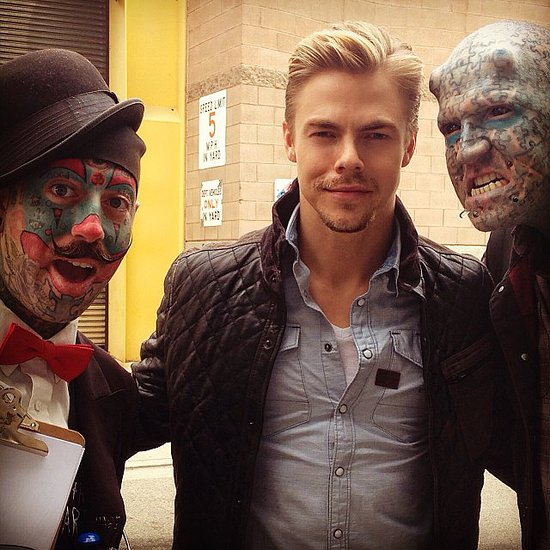 "Derek Hough ""met some new friends"" while at work. Source: Instagram user derekhough"