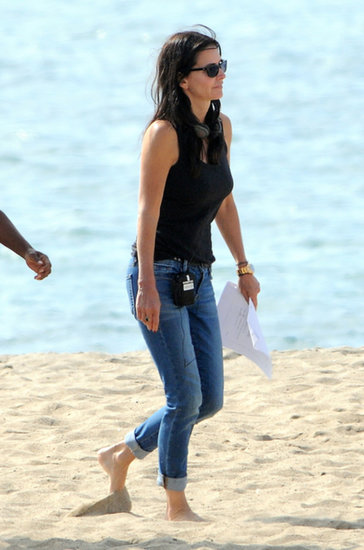 Courteney Cox headed to an LA beach on Tuesday to film Cougar Town.
