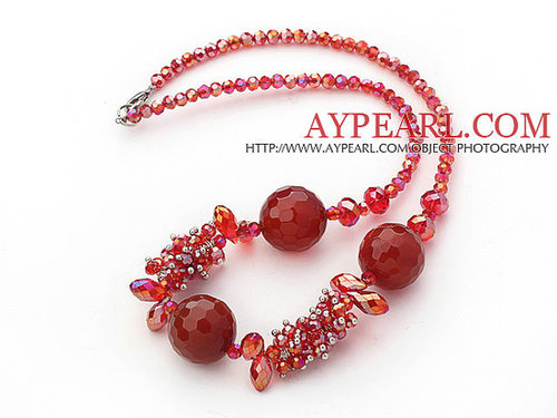 Assorted Red Series Red Crystal and Faceted Carnelian Necklace with Lobster Clasp