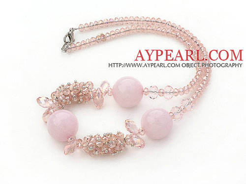 Assorted Pink Series Pink Crystal and Rose Quartz Necklace with Lobster Clasp