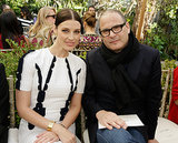 Jessica Paré (sitting here with designer Reed Krakoff) opted for a center-parted style that was slick and sleek.