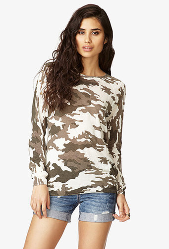FOREVER 21 Studded Camo Sweater
