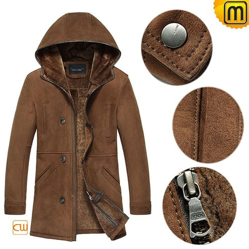 Mens Sheepskin Shearling Leather Fur Coat CW877231