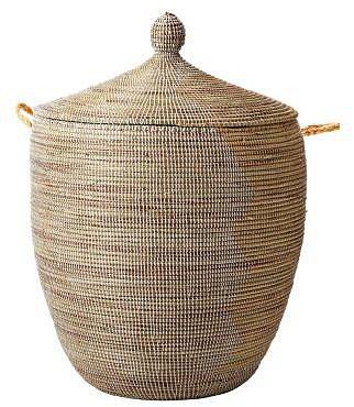Senegalese Storage Basket  White/Light Peach (Large)