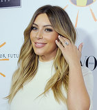 Kim Kardashian put her engagement ring on display at an event earlier in the evening.