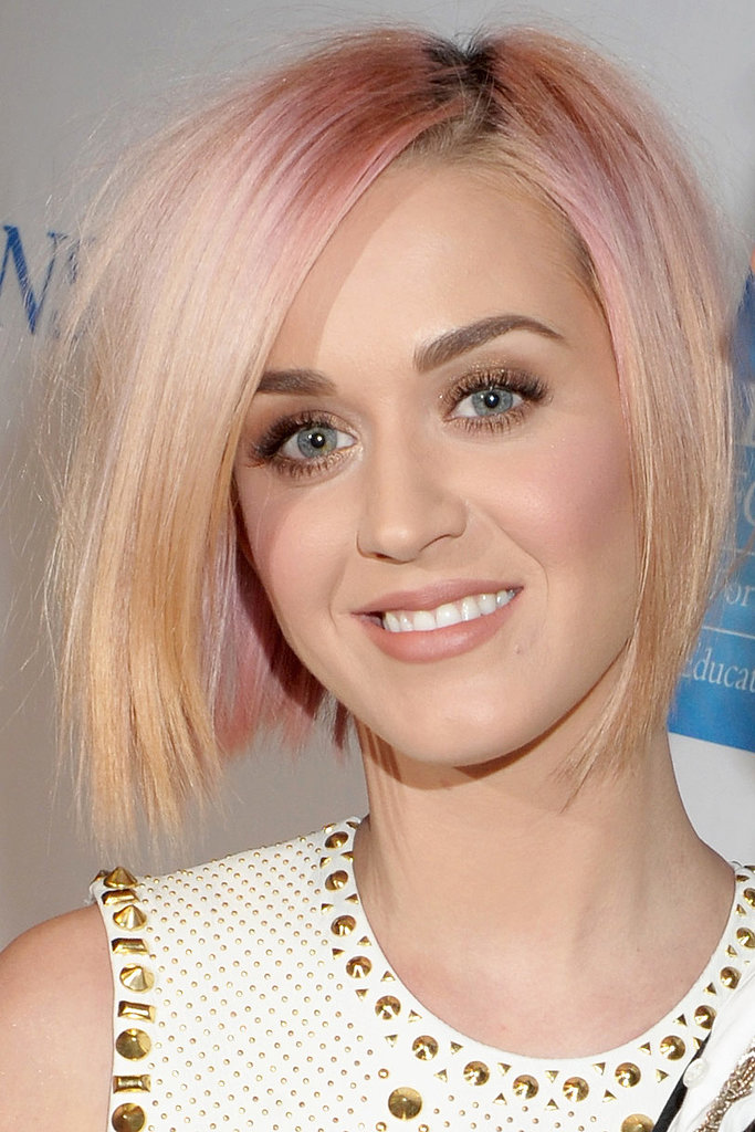 By the end of 2011, Katy lightened up her look with a sherbet-hued bob.