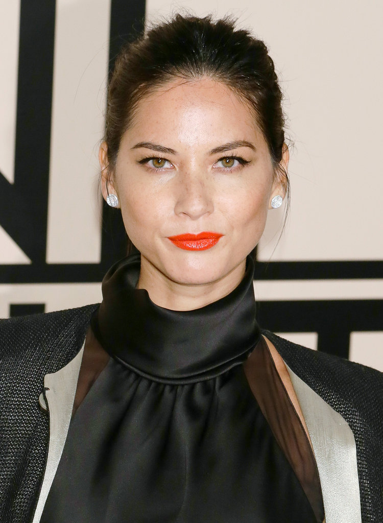 Olivia Munn proved that orange lipstick works beautifully in the Fall at the Giorgio Armani One Night Only NYC event.