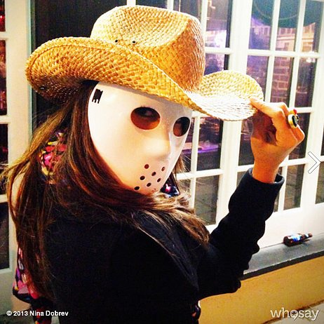 Nina Dobrev got in the spirit with a spooky Halloween mask. Source: Nina Dobrev on WhoSay