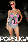 Paris Hilton pretty much became Miley Cyrus at the Playboy Mansion's Halloween party on Saturday.