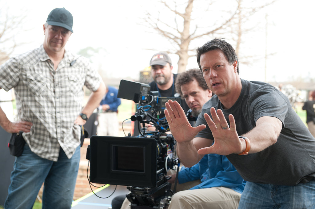 Director Gavin Hood on the set of Ender's Game.