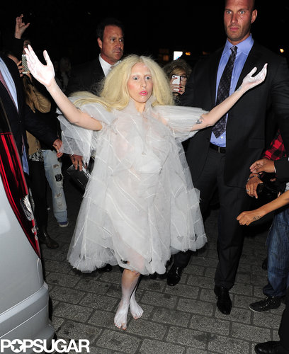 Hard to tell if this is Lady Gaga as a ghost or Gaga just being Gaga, but the singer made an appearance in London in a ghostly-white costume in October 2013.