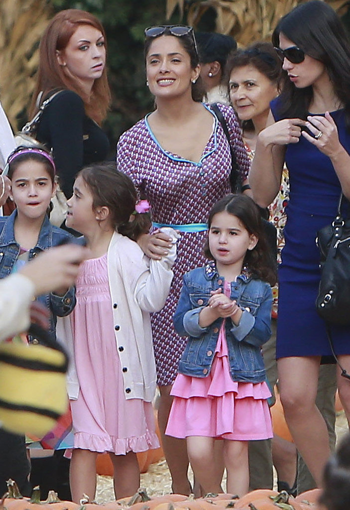 Salma Hayek took her daughter, Valentina, to the Mr. Bones pumpkin patch in LA.
