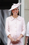 To celebrate the queen's birthday, Kate picked a pale pink coat by her beloved label.