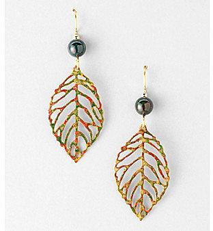Silver Forest® Fall Mix Open Leaf Earrings