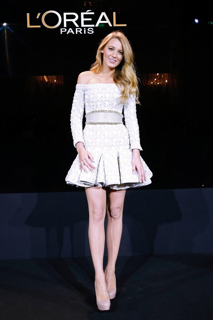 Blake Lively wore Balmain to accept her position as the new face of L'Oréal Paris.