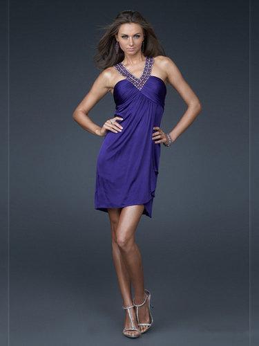 Sheath/Column Elastic Woven Satin Jewel Short/Mini Pleats Cocktail Dresses at dressestylish