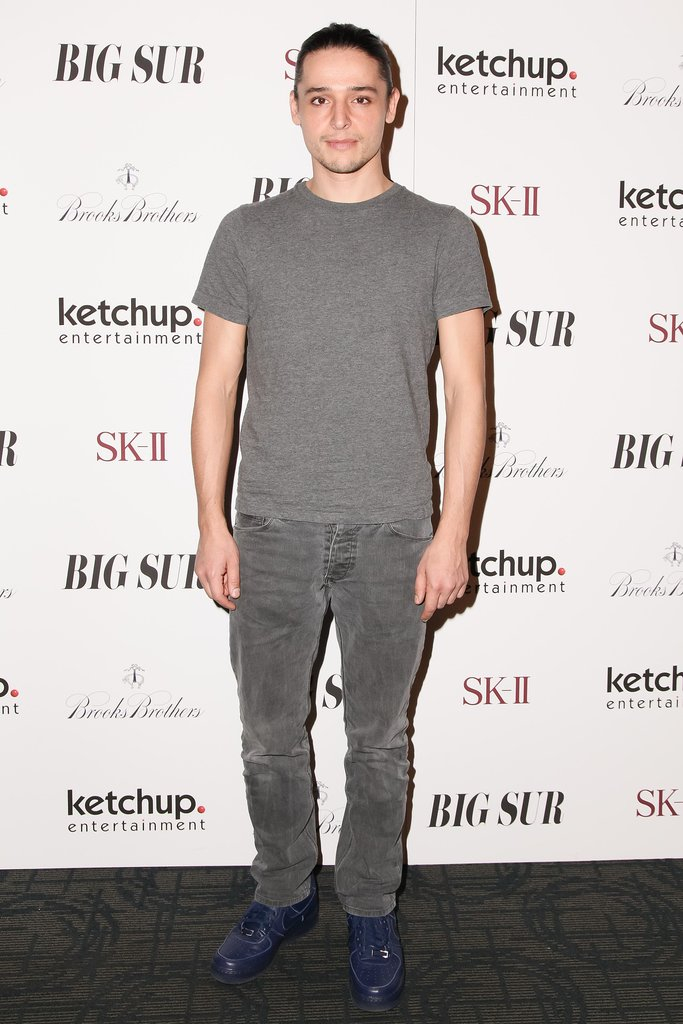 Olivier Theyskens set off his gray separates with blue lace-ups at the Brooks Brothers Big Sur screening.