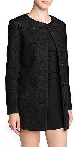 Quilted appliqué wool-blend coat