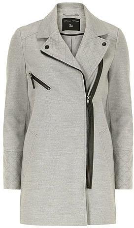 Grey quilt detail biker coat