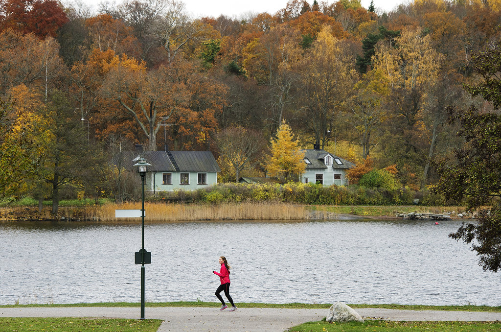 In Stockholm, Sweden, a woman ran through Djurgarden Park.