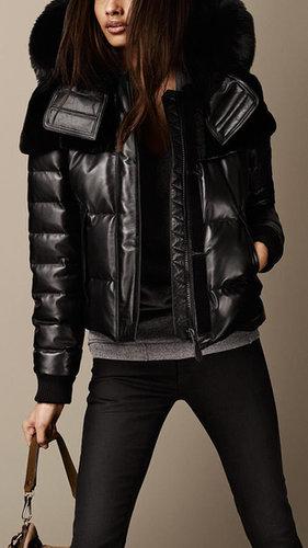 Fur Trim Nappa Leather Puffer Jacket