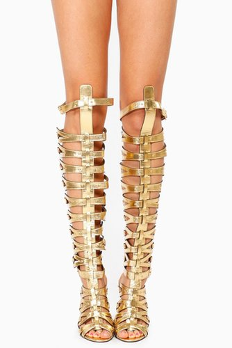 Breckelles Gold Thigh High Gladiator Heels @ Cicihot Heel Shoes online store sales:Stiletto Heel Shoes,High Heel Pumps,Womens Hi