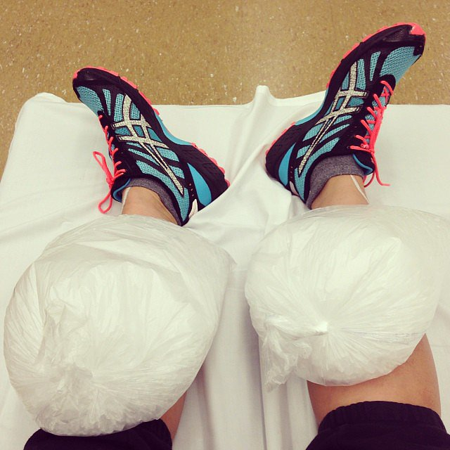 As mentioned, shin splints were (unfortunately) a common foe during training. If you encounter any muscle soreness and inflammation during training, icing the affected area can help. Here are more tips on when to ice or heat an injury.