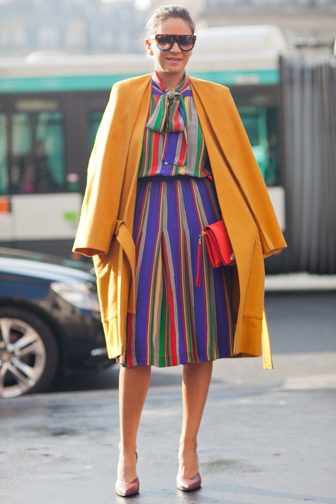 Embrace the classic Working Girl vibe with a tie neck up top. Only catch: this one brings a whole lot of color to liven up the room. Source: Le 21ème | Adam Katz Sinding