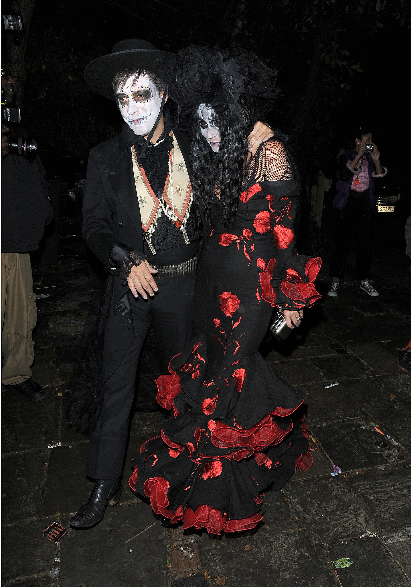 Kate Moss and Jamie Hince donned Day of the Dead looks for Jonathan Ross's Spooktacular Halloween Bash in London.