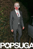 Simon Pegg relived his Shaun of the Dead days as a zombie while attending Jonathan Ross's Spooktacular Halloween Bash in London.