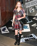 Devon Aoki wore Kenzo's ribbon jacquard dress to the label's LA party.