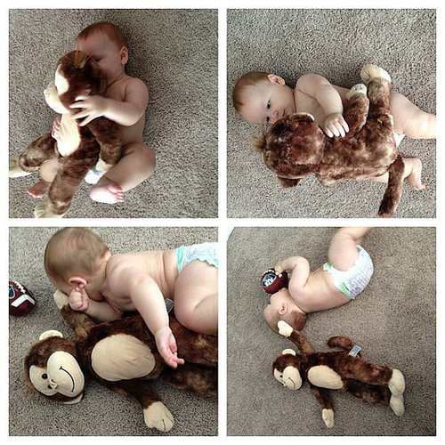 When you take pictures every month of your baby with the same stuffed animal to measure his growth, but at 6 months, he refuses to sit still.  Source: Instagram user maryorganizes