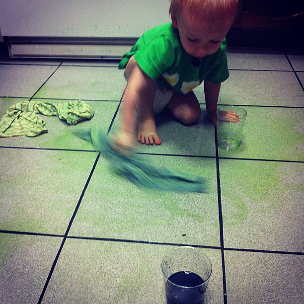When your toddler likes colored water so much, he turns your kitchen into a green skating rink.  Source: Instagram user dani920