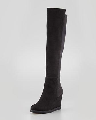 Stuart Weitzman Demiswoon Over-the-Knee Wedge Boot, Black
