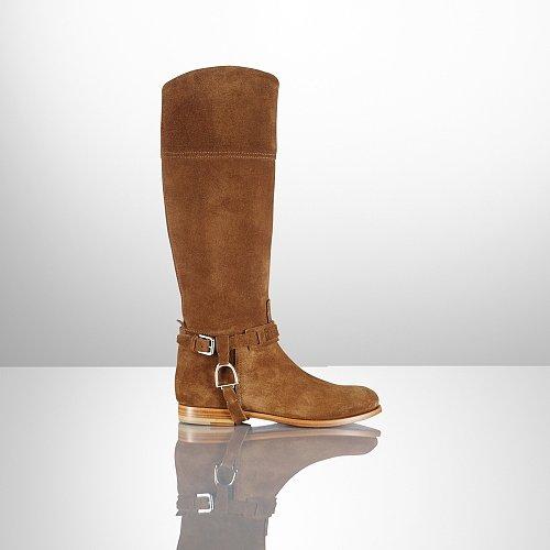 Ralph Lauren Sage Calf Suede Riding Boot