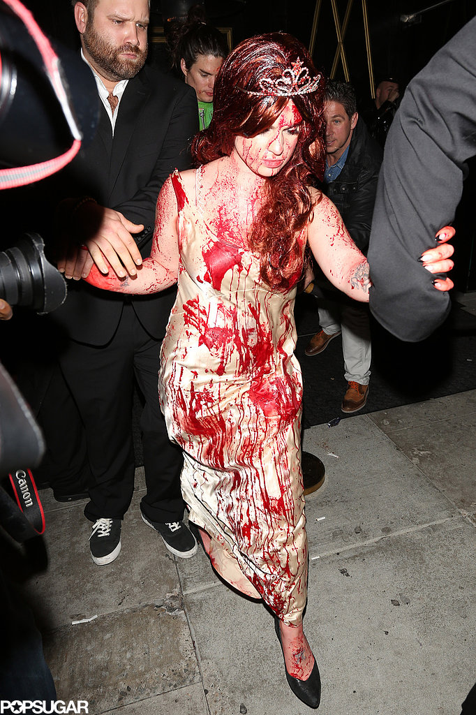 Kelly Osbourne went for a Carrie look for Halloween in LA.