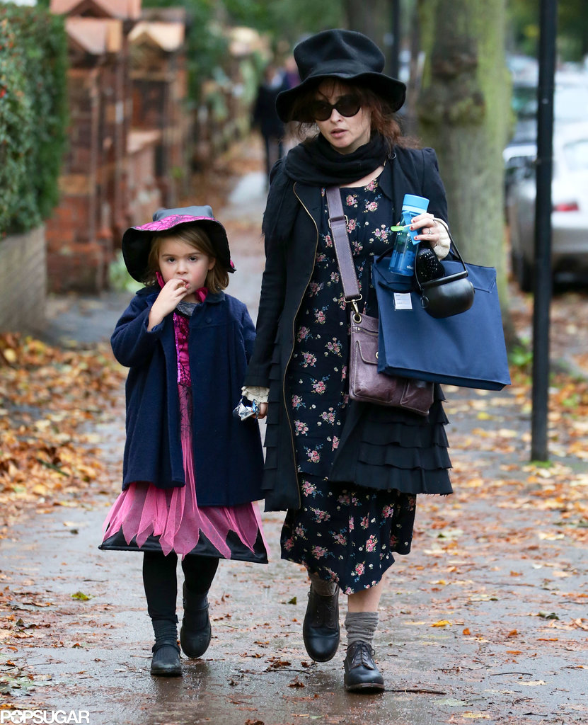 Helena Bonham Carter took her daughter out trick-or-treating in London.