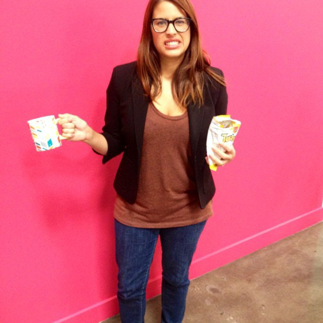 Entertainment editor Shannon Vestal chose the lazy gal's costume: Liz Lemon. Blerg! Source: Instagram user popsugarent