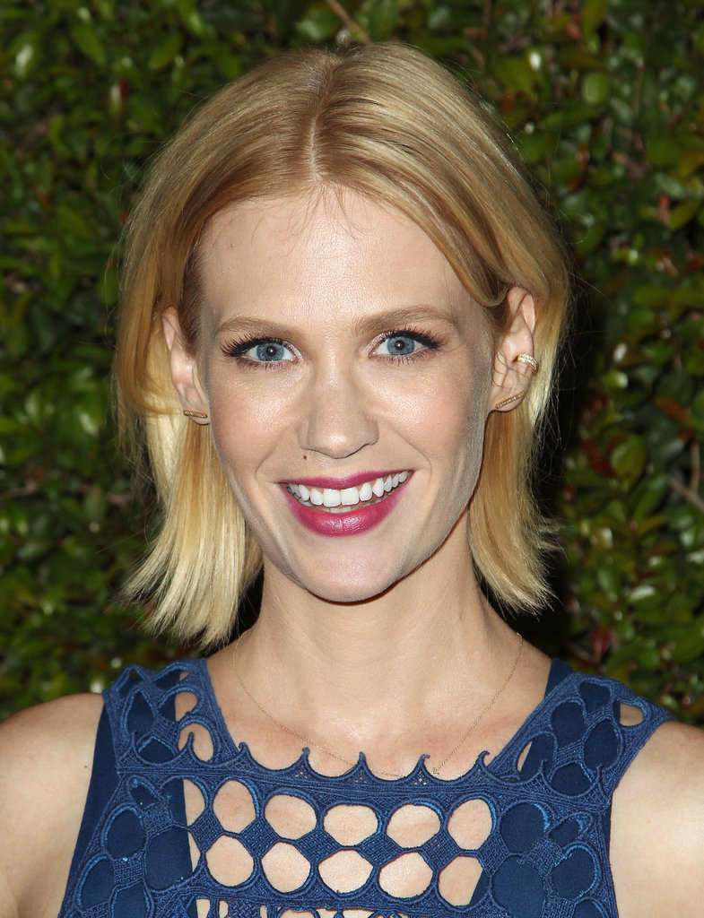 Cropped hair and berry lips were a fun look on January Jones at the Chloé fashion show and dinner in LA.