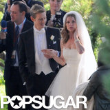 Emily VanCamp filmed a wedding scene with Gabriel Mann on the set of Revenge in LA on Tuesday.