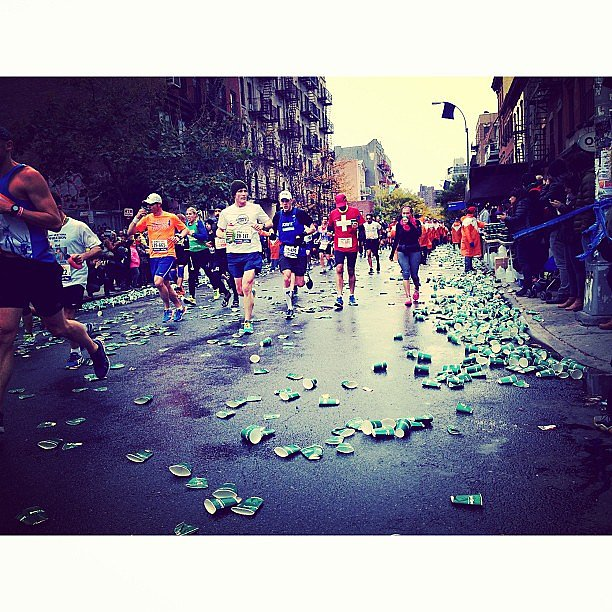 It's remarkable how fast the city had the streets cleaned up once the race was over. This is just a small fraction of the cups being discarded by runners.  Source: Instagram user prudenciocenter