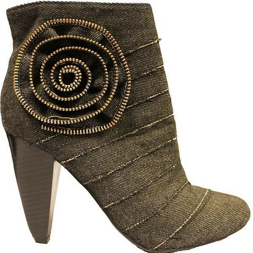 Fahrenheit Women's 'Luga-06' Black Demin Ankle Booties