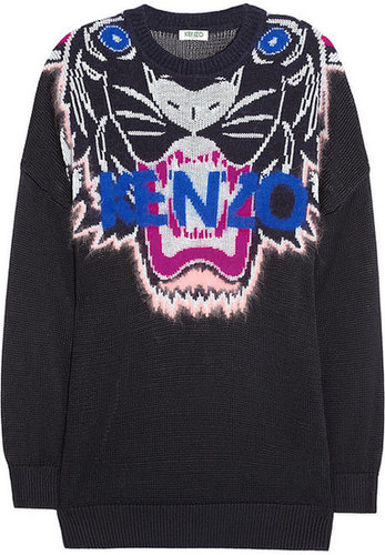 KENZO Tiger-intarsia knitted sweater