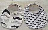 "Set of Two ""Where's My Stache?"" Bibs"