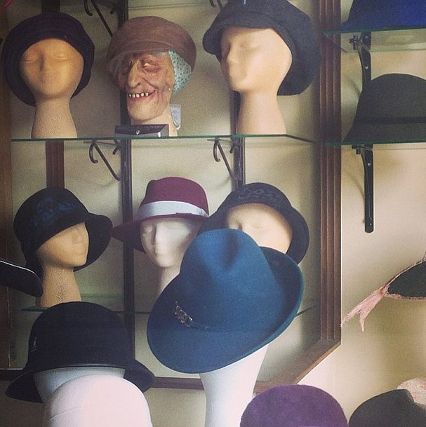 Busy Philipps went hat shopping — at least we think that's what's going on here. Source: Instagram user busyphilipps