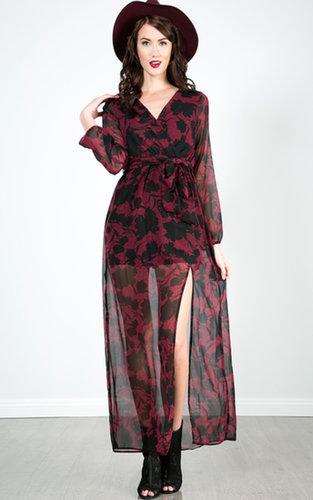 Floral Print Chiffon Maxi Dress |  MakeMeChic.com