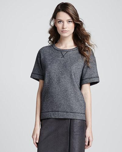Vince Luxe Short-Sleeve Knit Sweatshirt