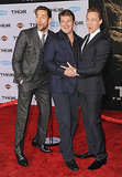 Tom Hiddleston tickled Nathan Fillion while Zachary Levi looked on.
